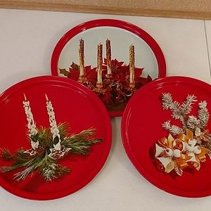 Vintage round metal holiday trays platters